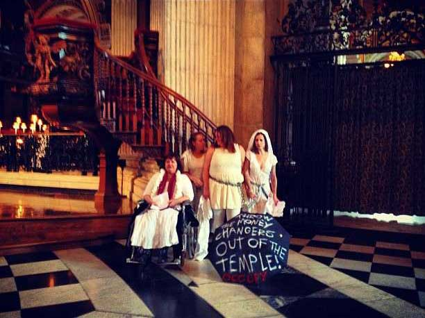 Occupiers staged Pussy-riot drama inside St Paul's Cathedrals a night before the #Global Noise Day.